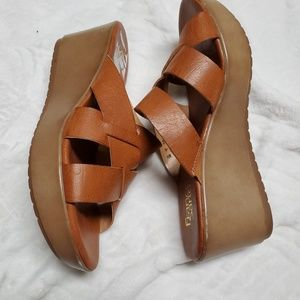 Franco Sarto Wedges 9.M Womens Brown Leather